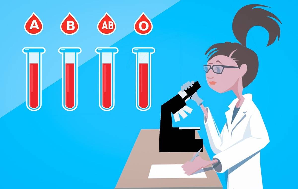An illustration shows a doctor analyzing different blood samples.