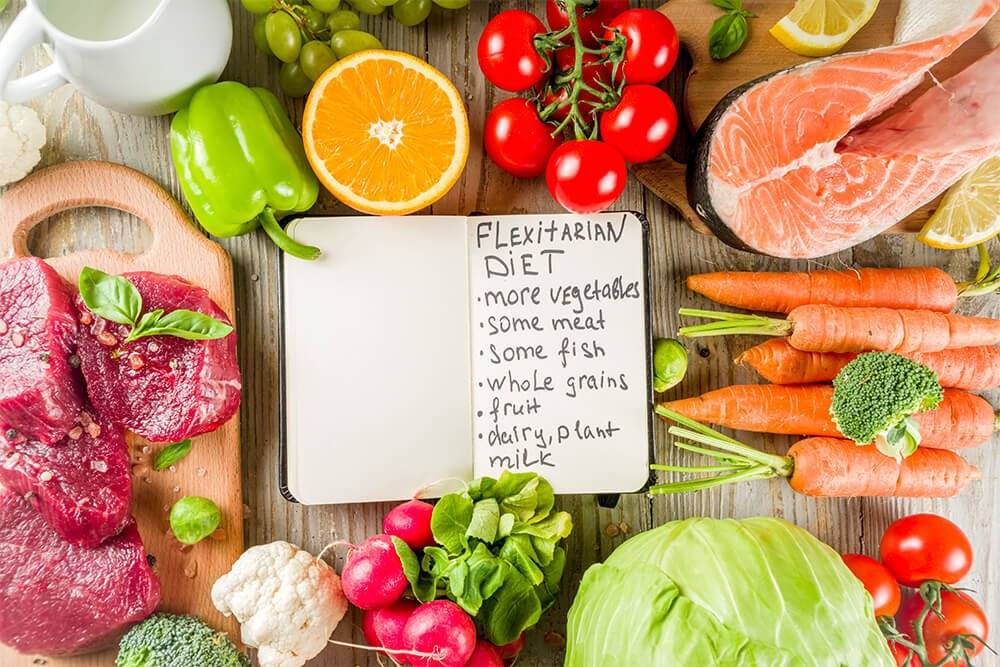 A notebook about flexitarianism sits near fruits, vegetables, and red meat.