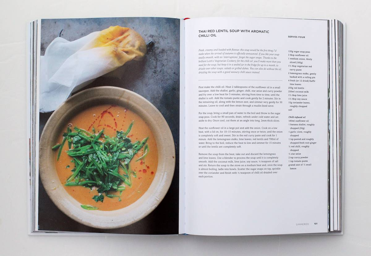 The open book Plenty More by Yotam Ottolenghi shows a soup recipe.