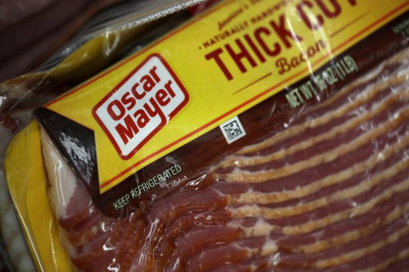 A close-up shows a package of Oscar Mayer bacon.
