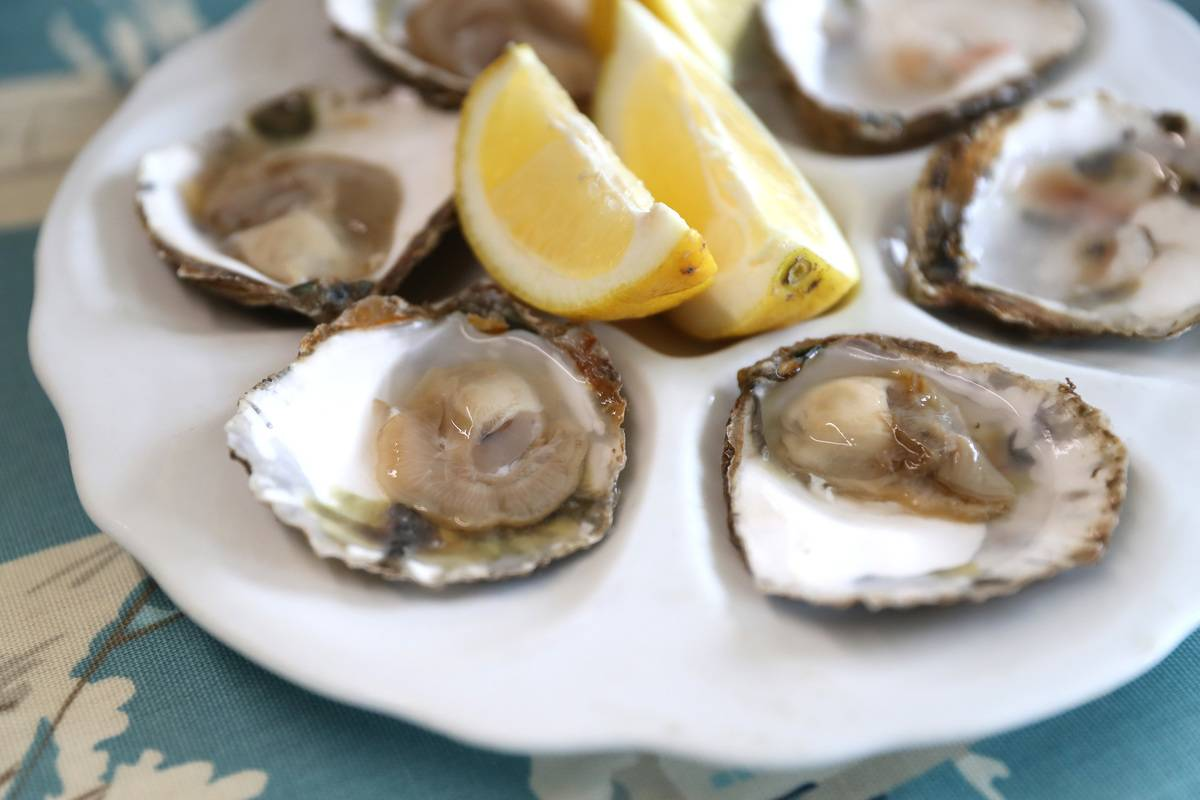 Oysters sit on a place with lemon wedges.
