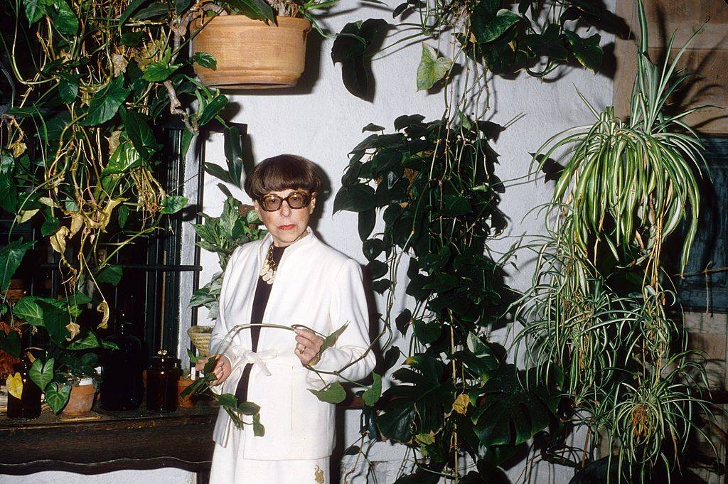 Designer Edith Head is surrounded by plants as she stands in her home.