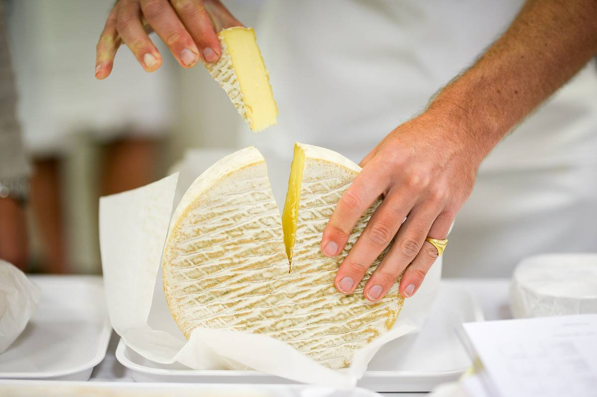 A man removes a slice of cheese from a wheel.