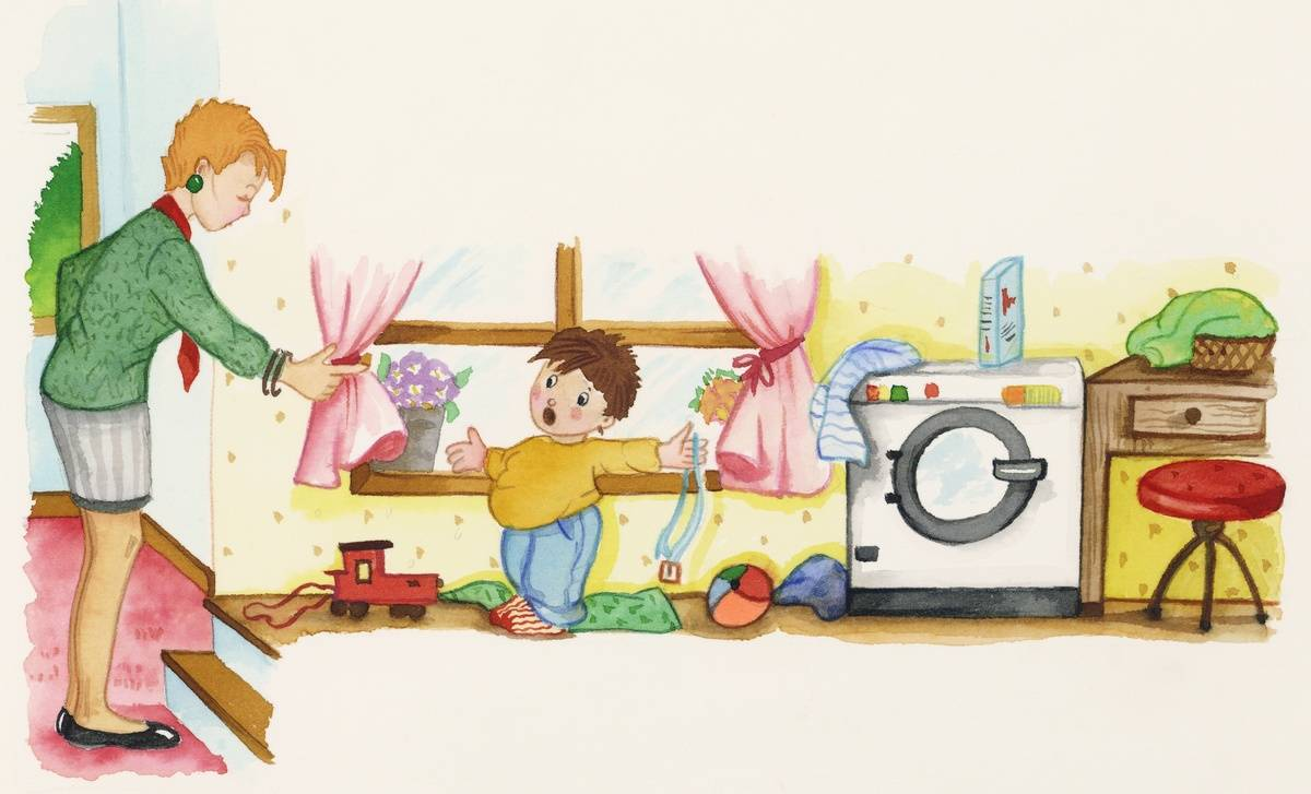 In this children's drawing, a mother tells her son to clean up his toys.
