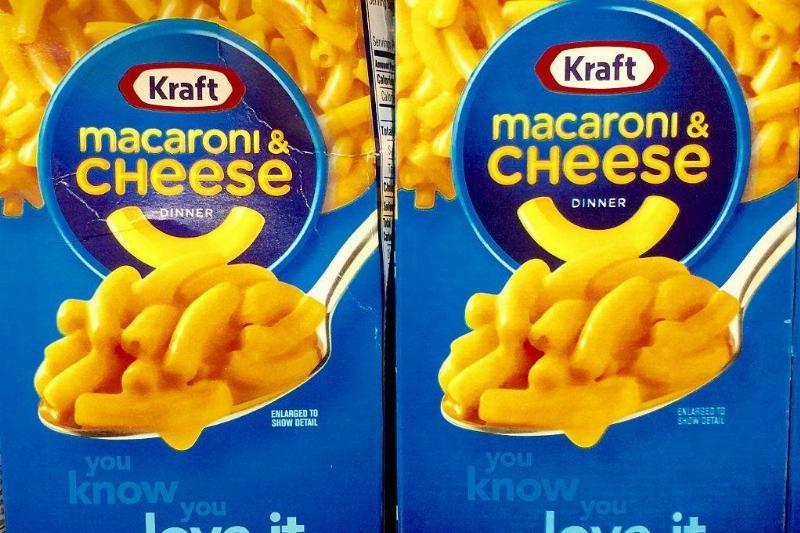 closeup of boxed kraft mac and cheese