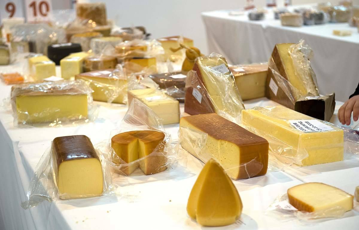 Some of the 3,500 cheeses are laid out during the World Cheese Awards in Norway.