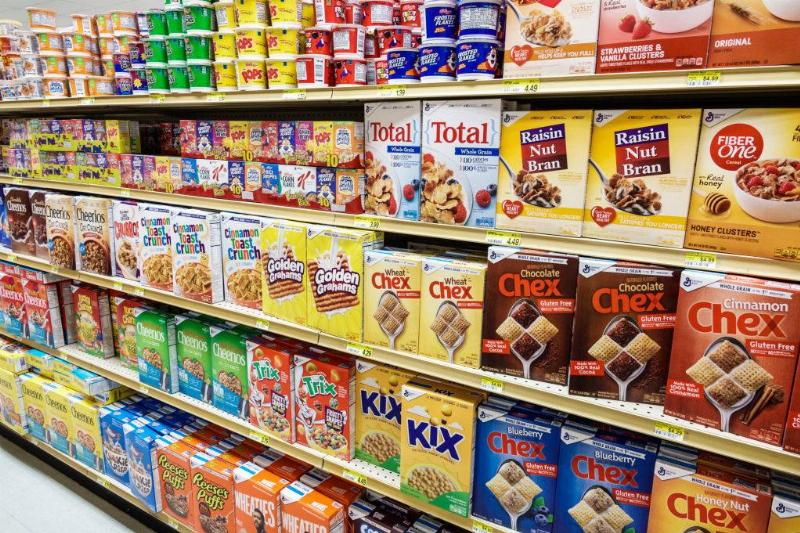 a cereal aisle at the grocery store