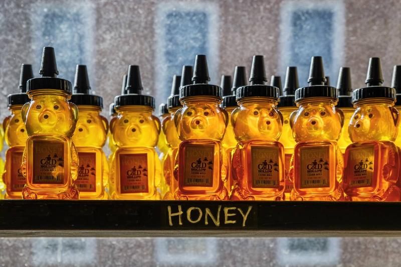 Containers of honey sit on a shelf in a store.