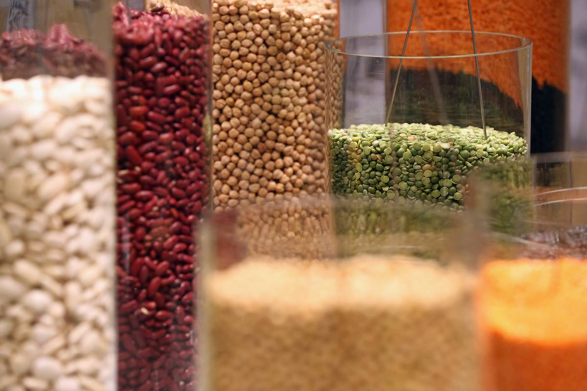 Beans and lentils are sorted into cylinder containers.