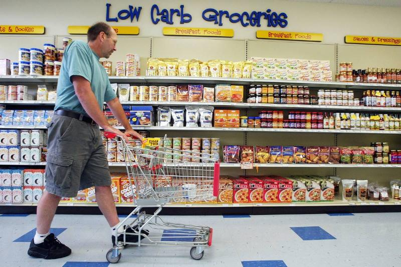 A customer shops at a low carb grocery store.