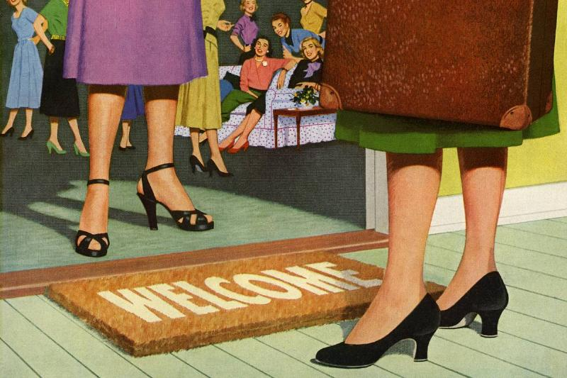 A vintage illustration shows a woman standing at a welcome mat.