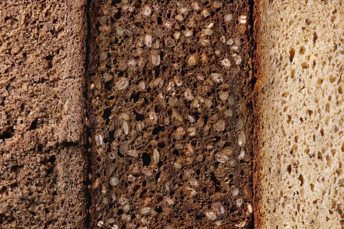 A close-up shows whole grain bread.