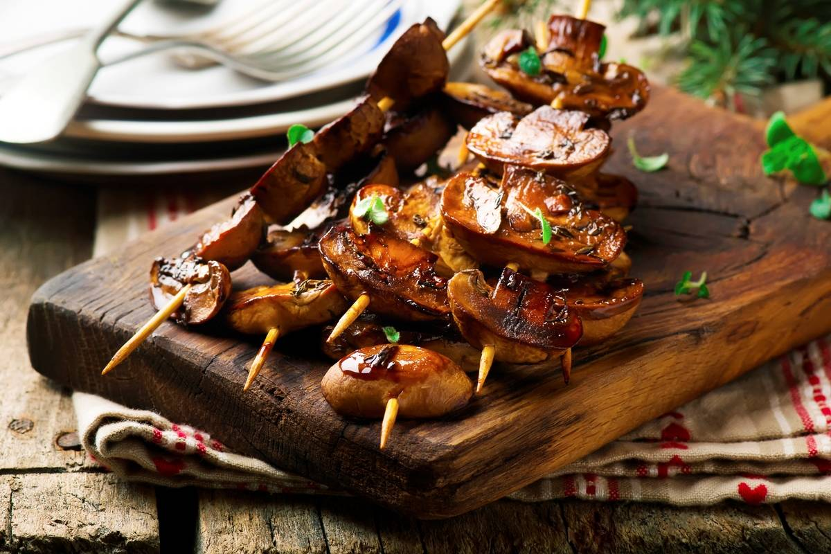 Balsamic grilled mushroom. selective focus. style rustic