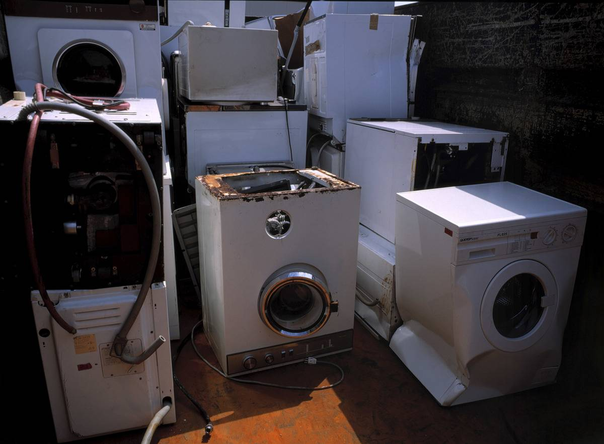 Broken washing machines collected for recycling