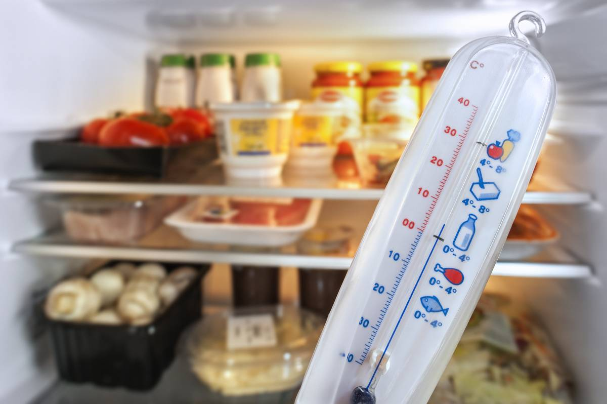 A thermometer is held in front of an open refrigerator.