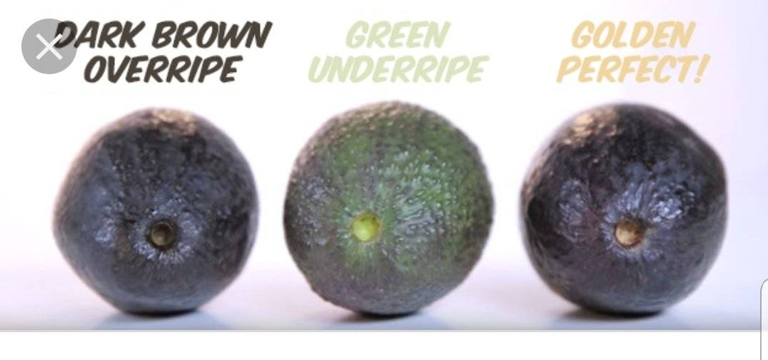 A diagram demonstrates how to tell if an avocado is ripe by removing the stem.