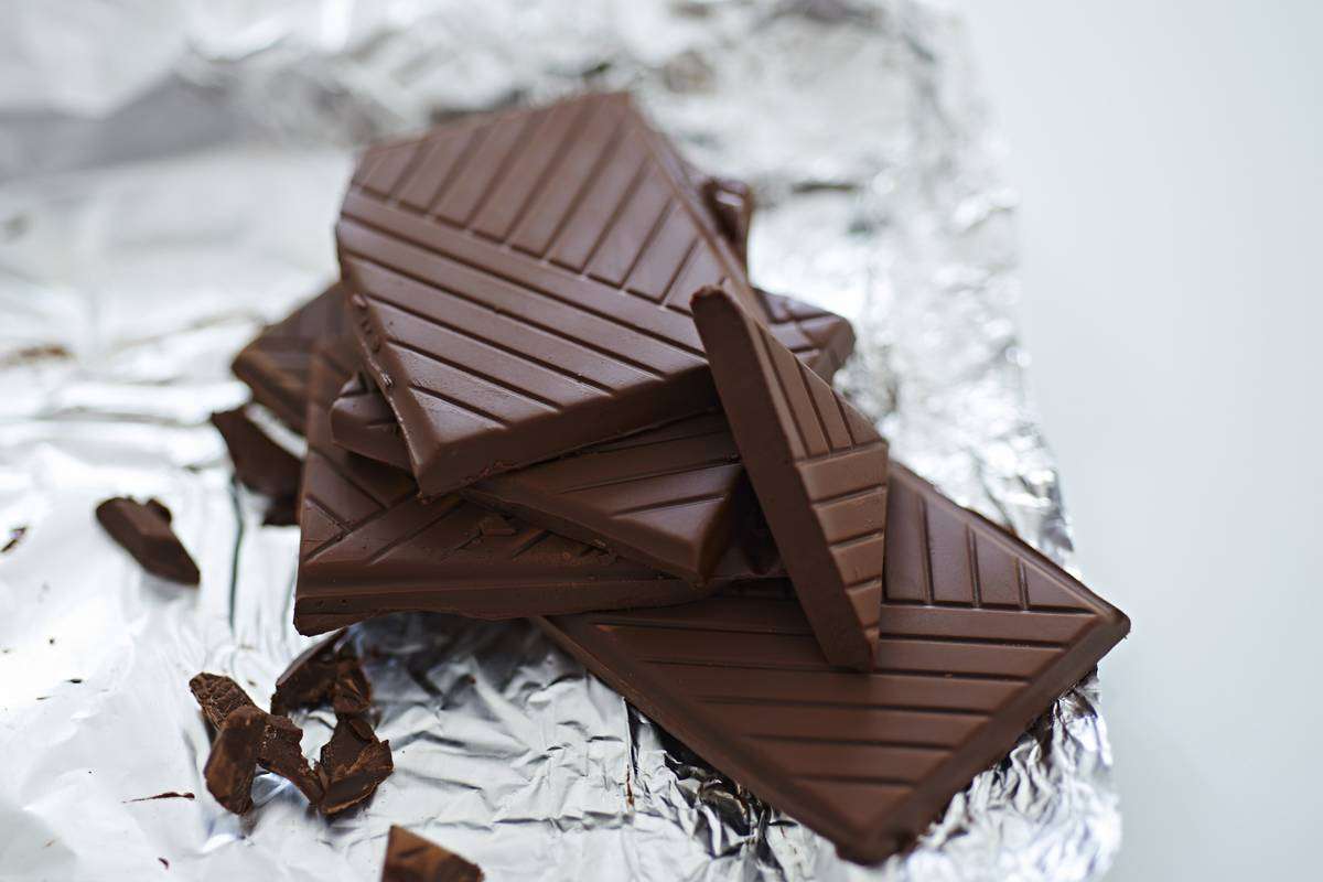 Slices of dark chocolate sit on tinfoil.