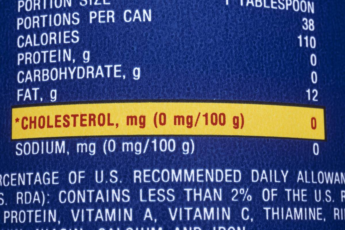 A nutrition label highlights the cholesterol in food.