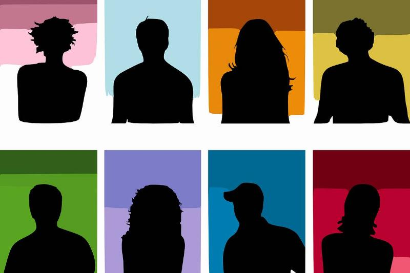 Silhouettes of people stand in front of different colors.