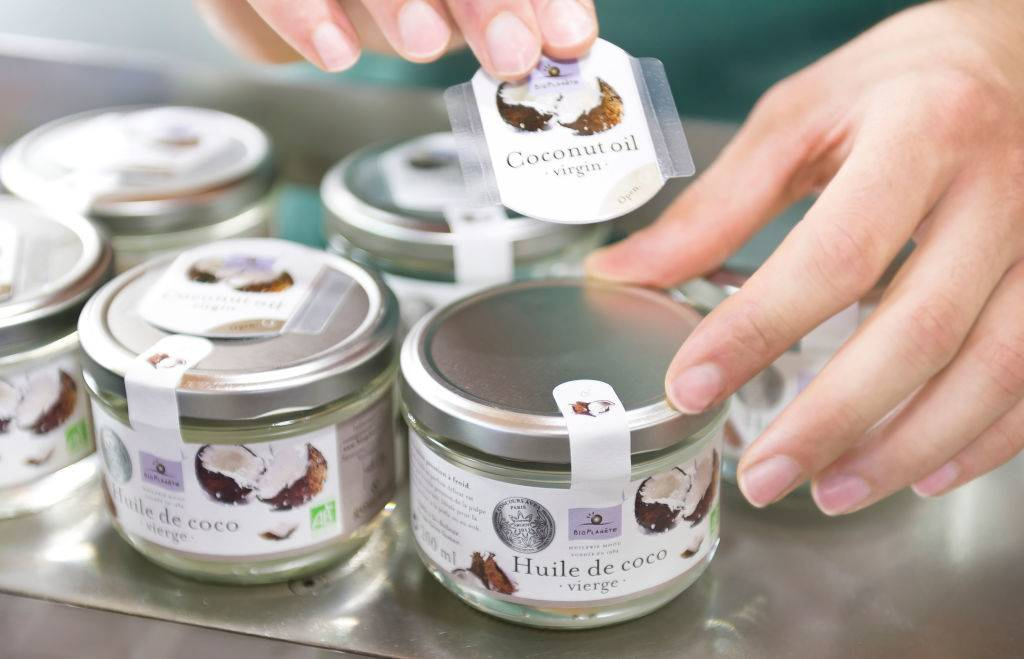 coconut oil jars with labels