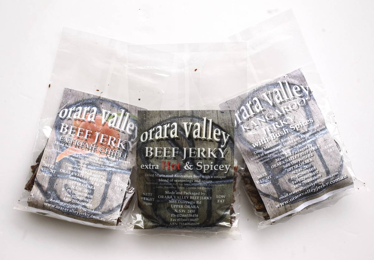 Plastic bags contain beef jerky.