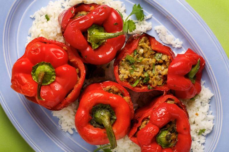 Bell Peppers Stuffed With Lentils