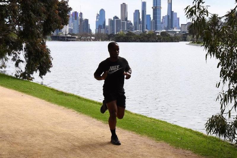 A man jogs in Australia.