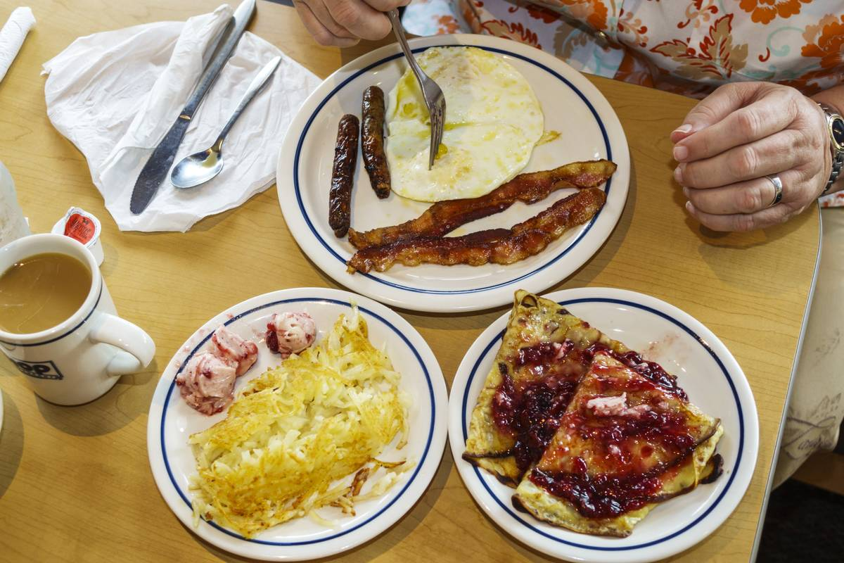 Plates of food from IHOP in Naples, Florida.