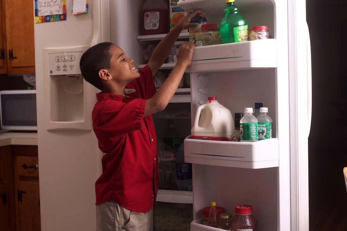 A young boy reaches into a refrigerator door.