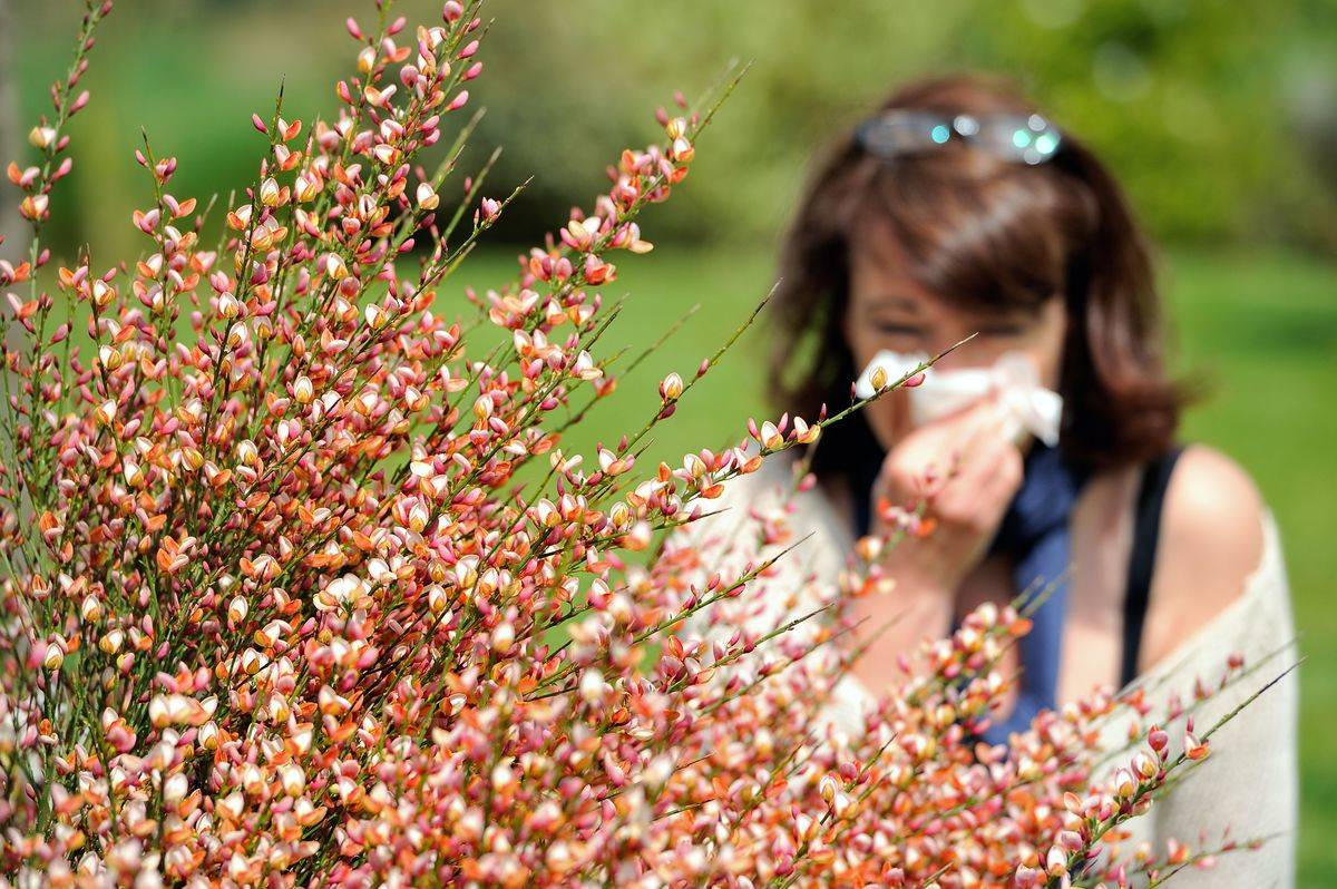 A woman blows her nose while outside near plants.
