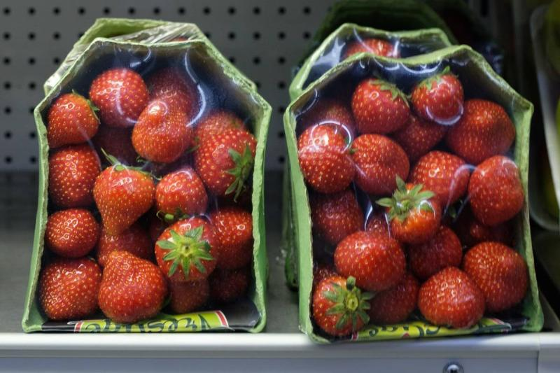Packaged strawberries sit on a refrigerator shelf.