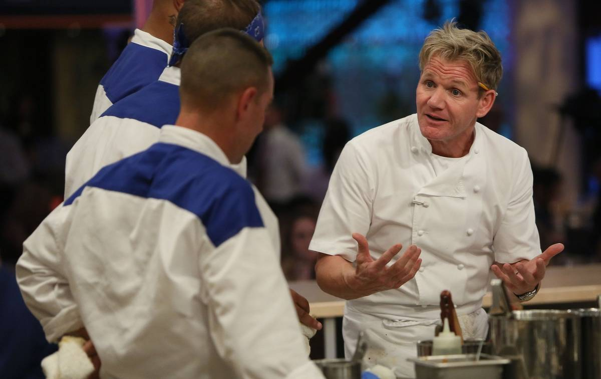 Gordon Ramsay instructs new chefs while cooking.
