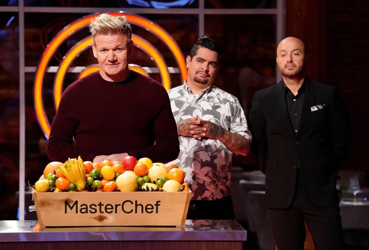 Judge/host Gordon Ramsay, judge Aaron Sanchez and judge Joe Bastianich appear on Master Chef.