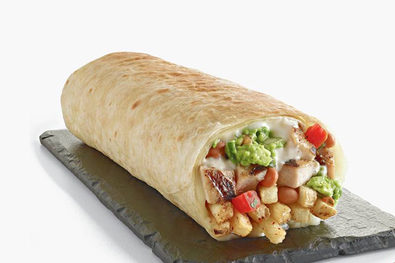 el pollo loco chipotle chicken avocado burrito with guacamole, beans, tomatoes, sour cream, and fries