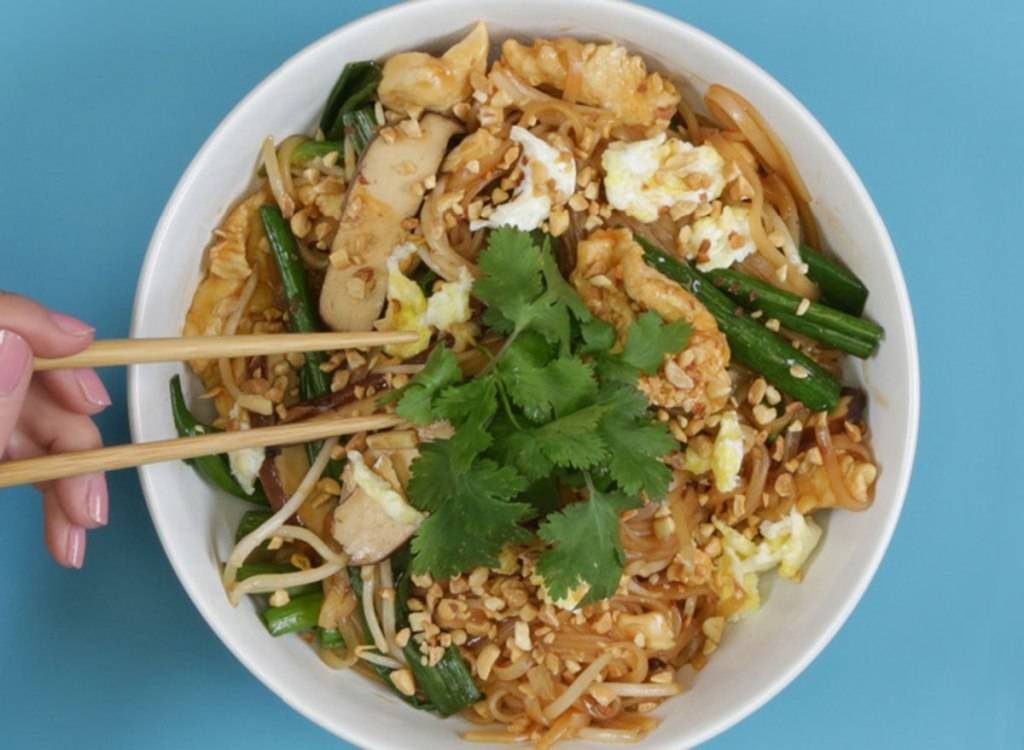pei wei chicken pad thai with onions, herbs, egg, and bean sprouts