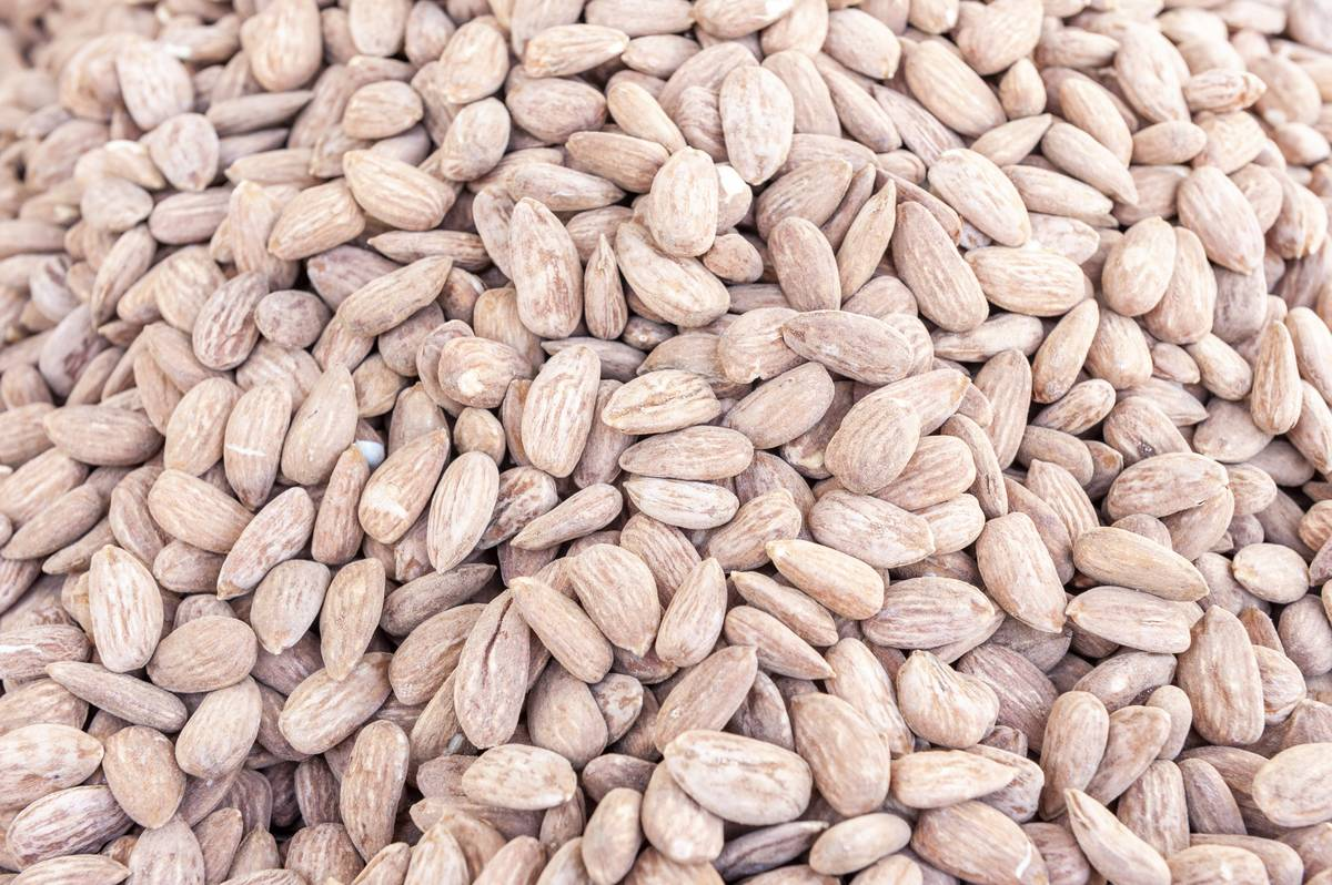 Almonds appear in a bulk pile.