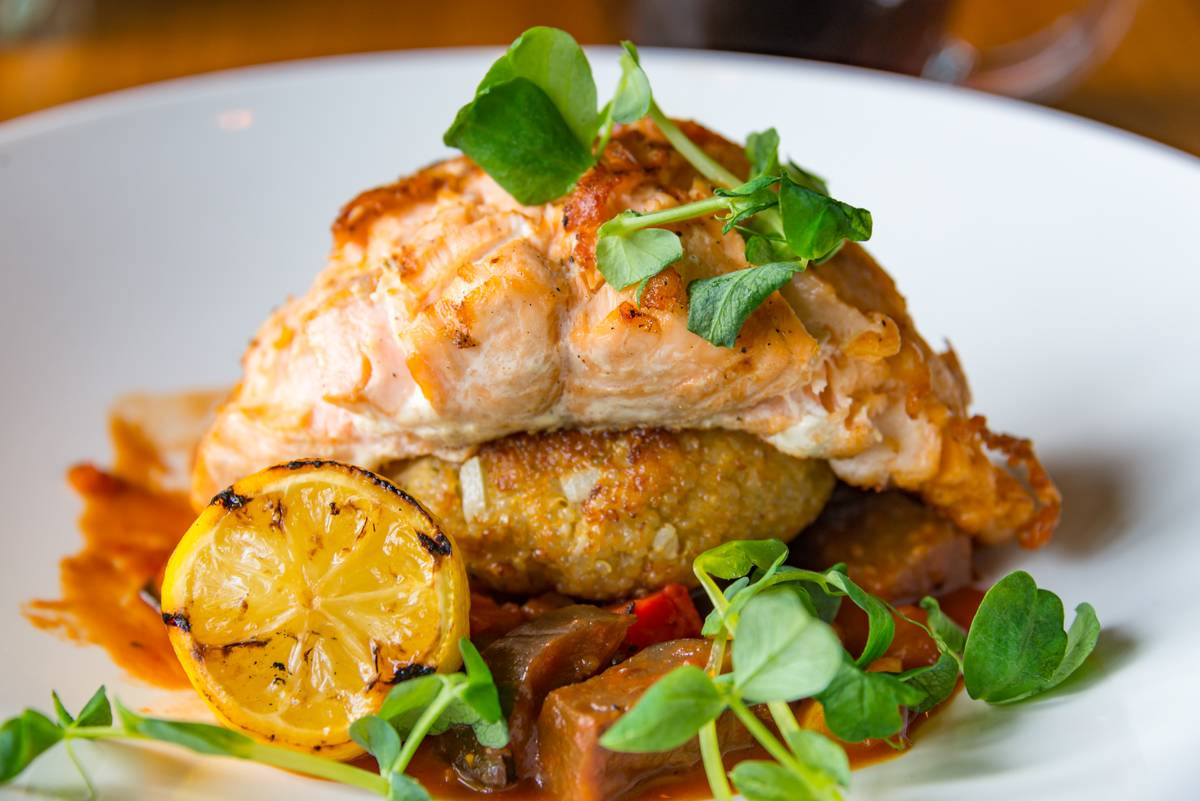 B.C. Grilled Salmon Provencal: Crispy quinoa cakes,...
