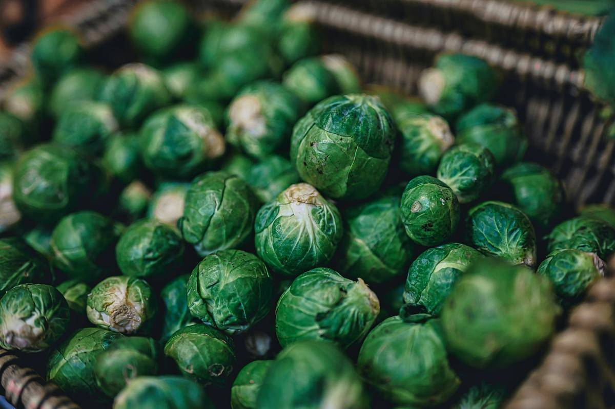 Many brussels sprouts are in a basket.