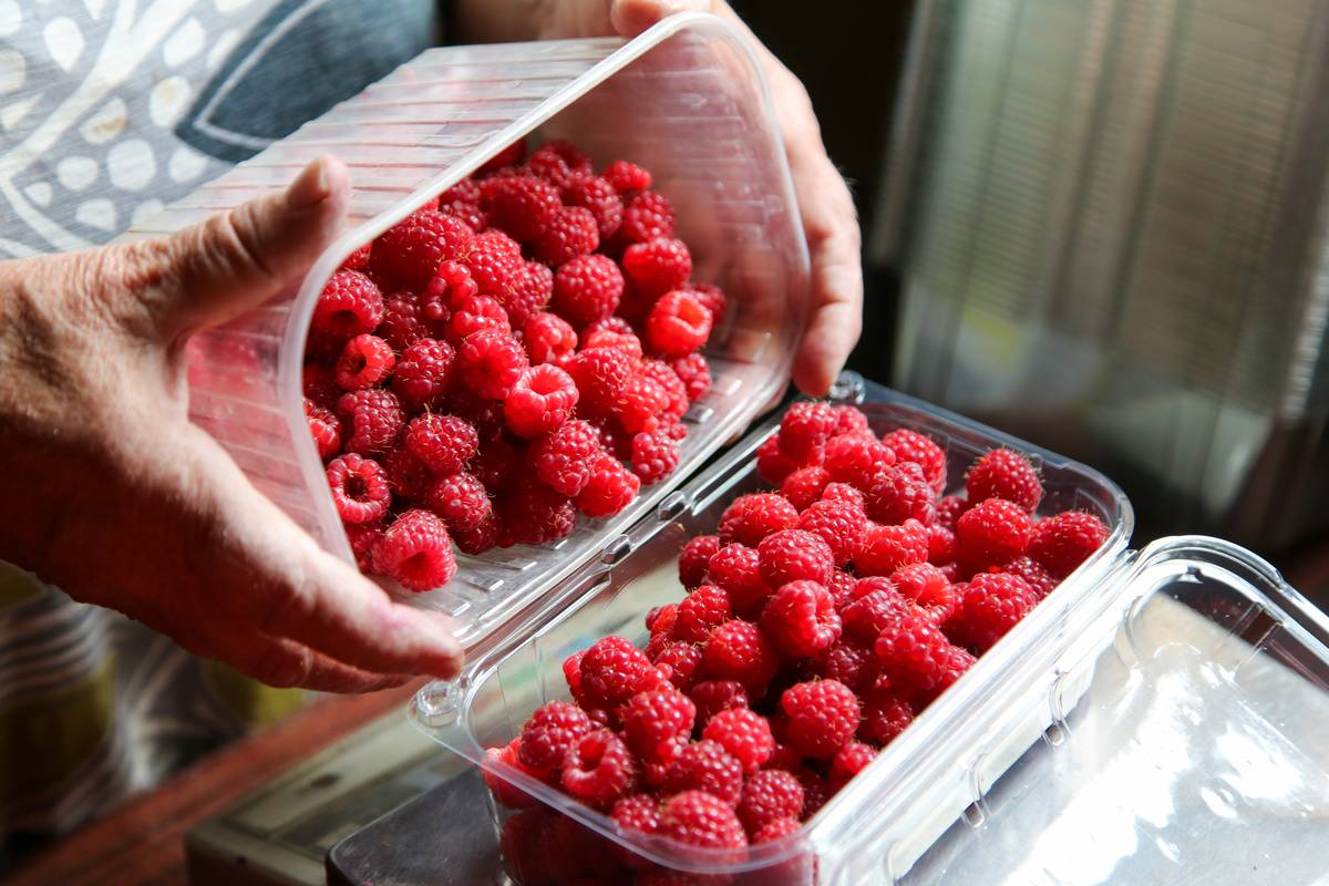 A woman pours a bin of raspberries into a glass container.