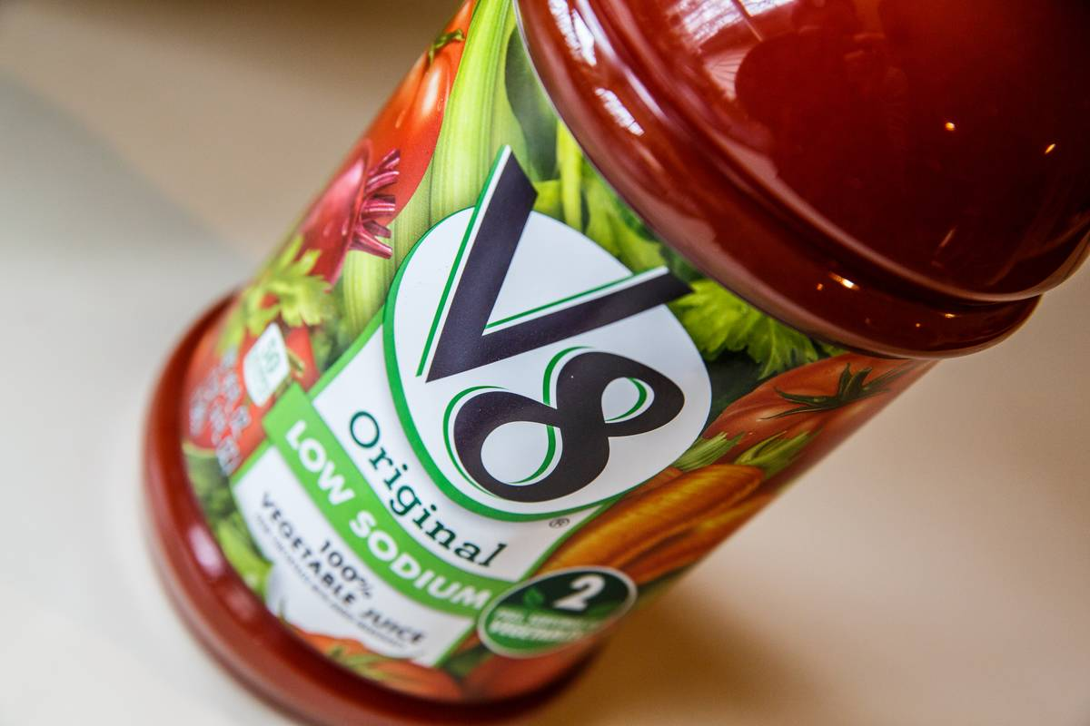 A close-up shot shows a low sodium version of V8.