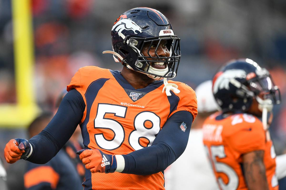 Von Miller of the Denver Broncos warms up before a game against the Kansas City Cheifs.