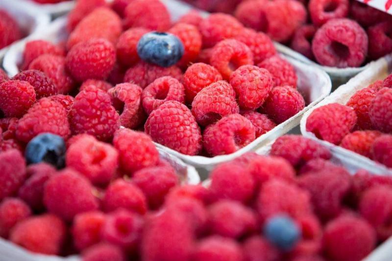 Blueberries and raspberries seen displayed
