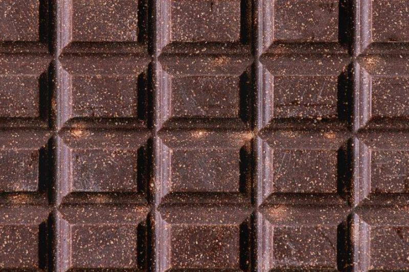 Close up of whole dark chocolate bar