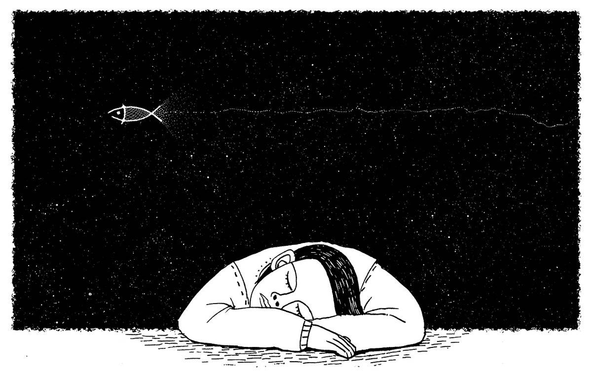 A black-and-white drawing portrays someone dreaming while sleeping.