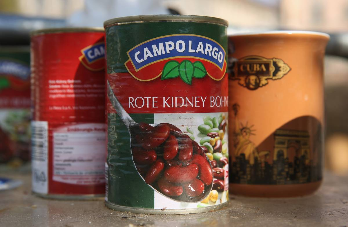 A can of kidney beans is seen.