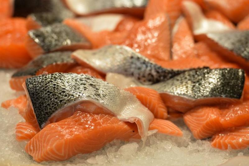 Atlantic salmon for sale at a fish store