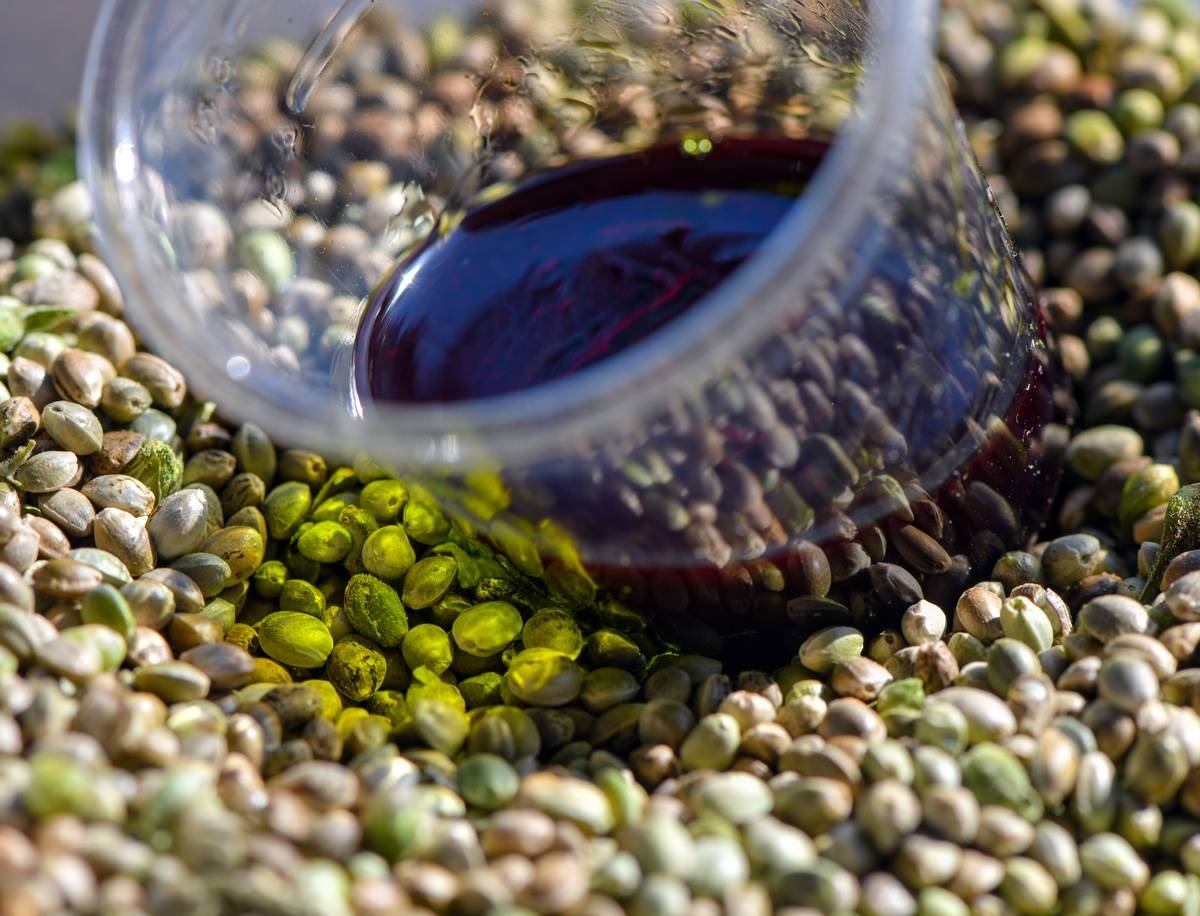 A cup of hemp oil sits on top of seeds.