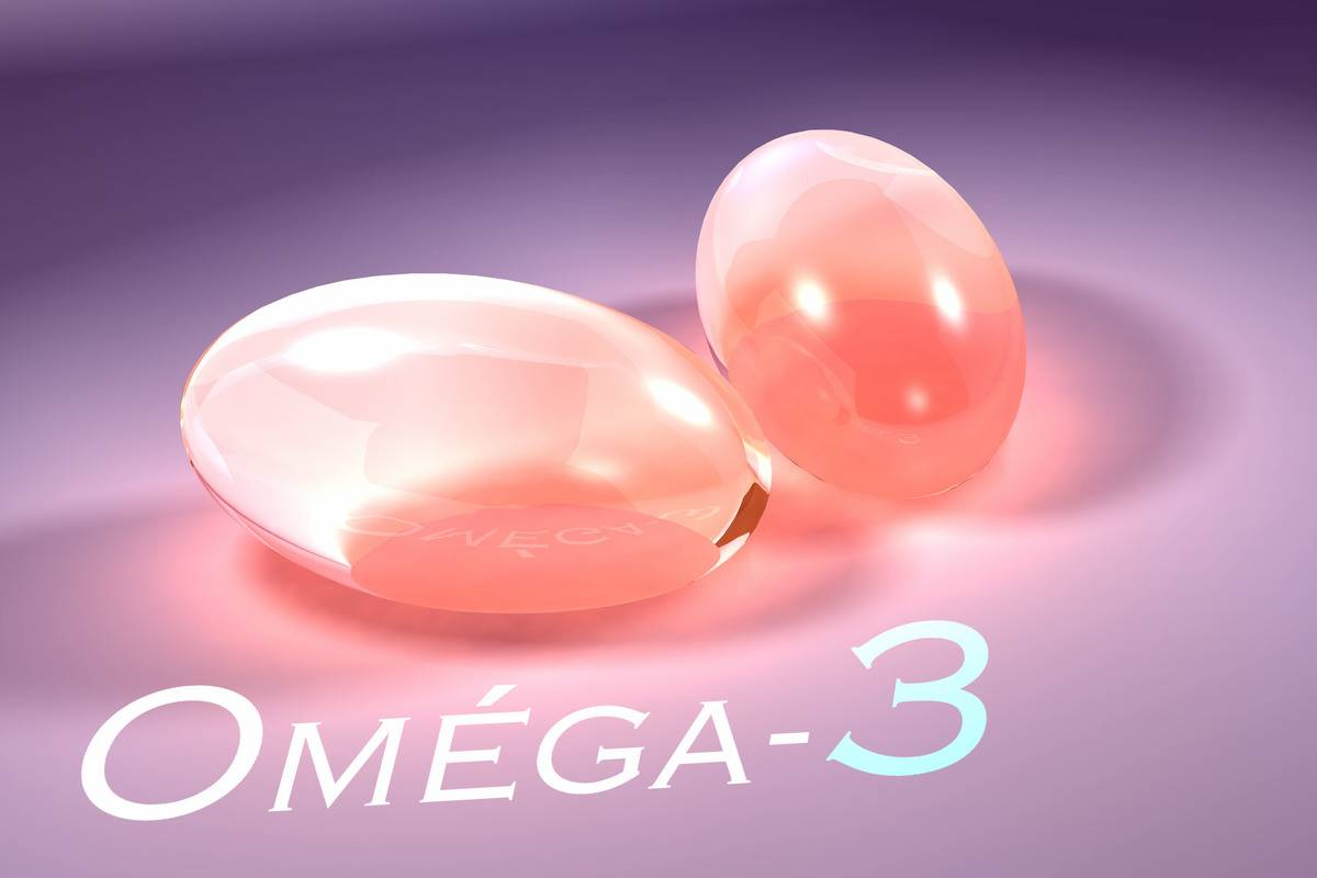 Two pills are labeled as omega-3 supplements.