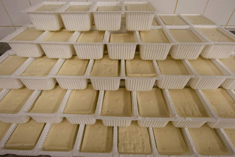 Tofu is packaged in boxes and stacked in a factory.