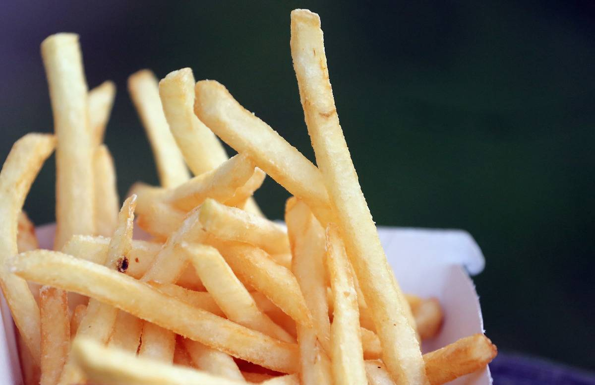A close-up picture shows French fries.
